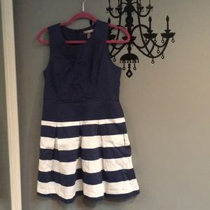 Navy blue and white striped dress with pockets!